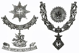 Star and livery collar of the Garter, and of the Star of India