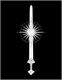 Proposed emblem of the Planetary Kingdom of Tanith; the 'Sword and Morning Star'